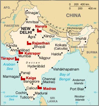 Nuclear Power Corporation Of India Limited Indian Power Sectorcom - Nuclear plants in india map